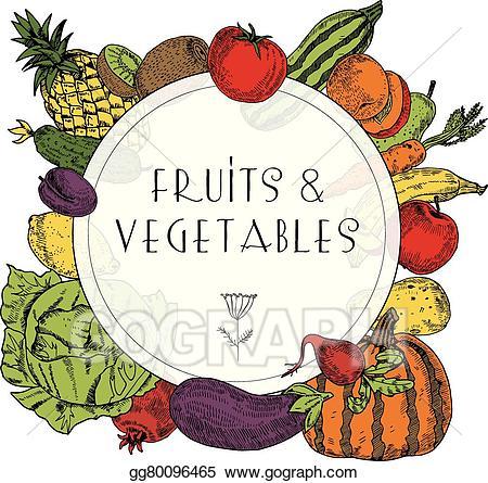 Clipart vegetables banner. Vector art healthy food