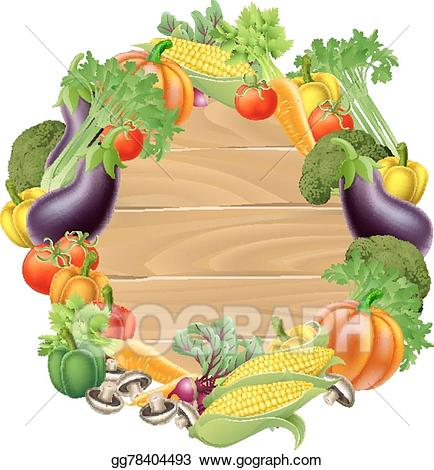 Eps vector wooden stock. Vegetables clipart sign