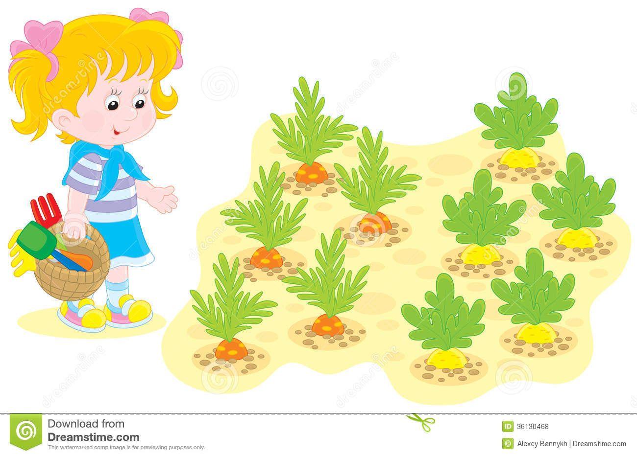 Gardening clipart vegetable garden. Graphic with kids