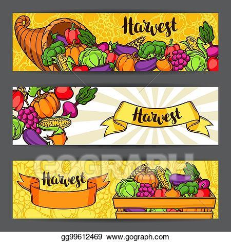 Vector art banners autumn. Clipart vegetables harvest festival