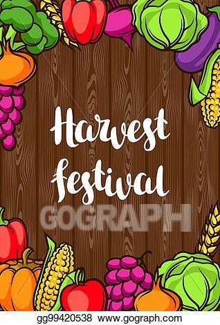 Clipart vegetables harvest festival. Vector illustration poster autumn