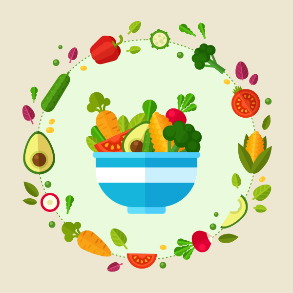 Vegetables clipart healthy food. Create a flat style