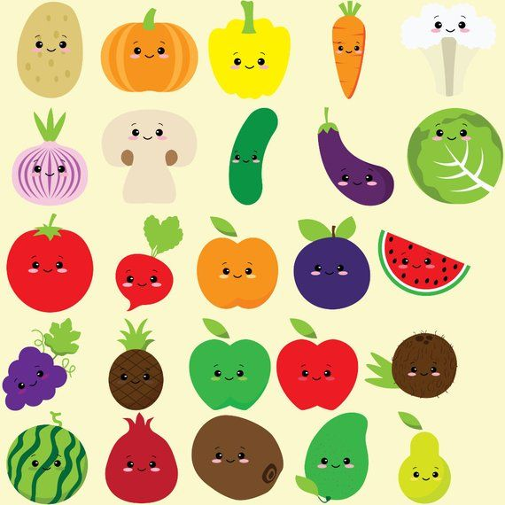 Vegetables clipart healthy food. Cute fruit kawaii vegetable