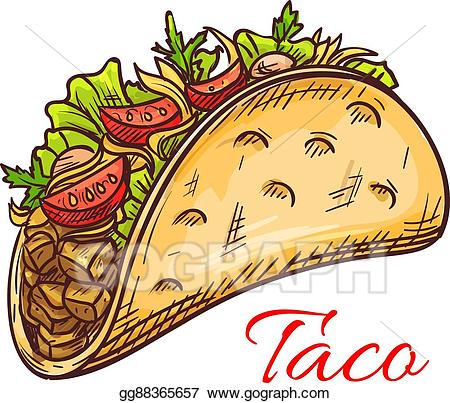 Vector illustration beef taco. Vegetables clipart mexican