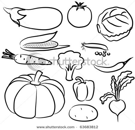 Clip art with for. Vegetables clipart outline