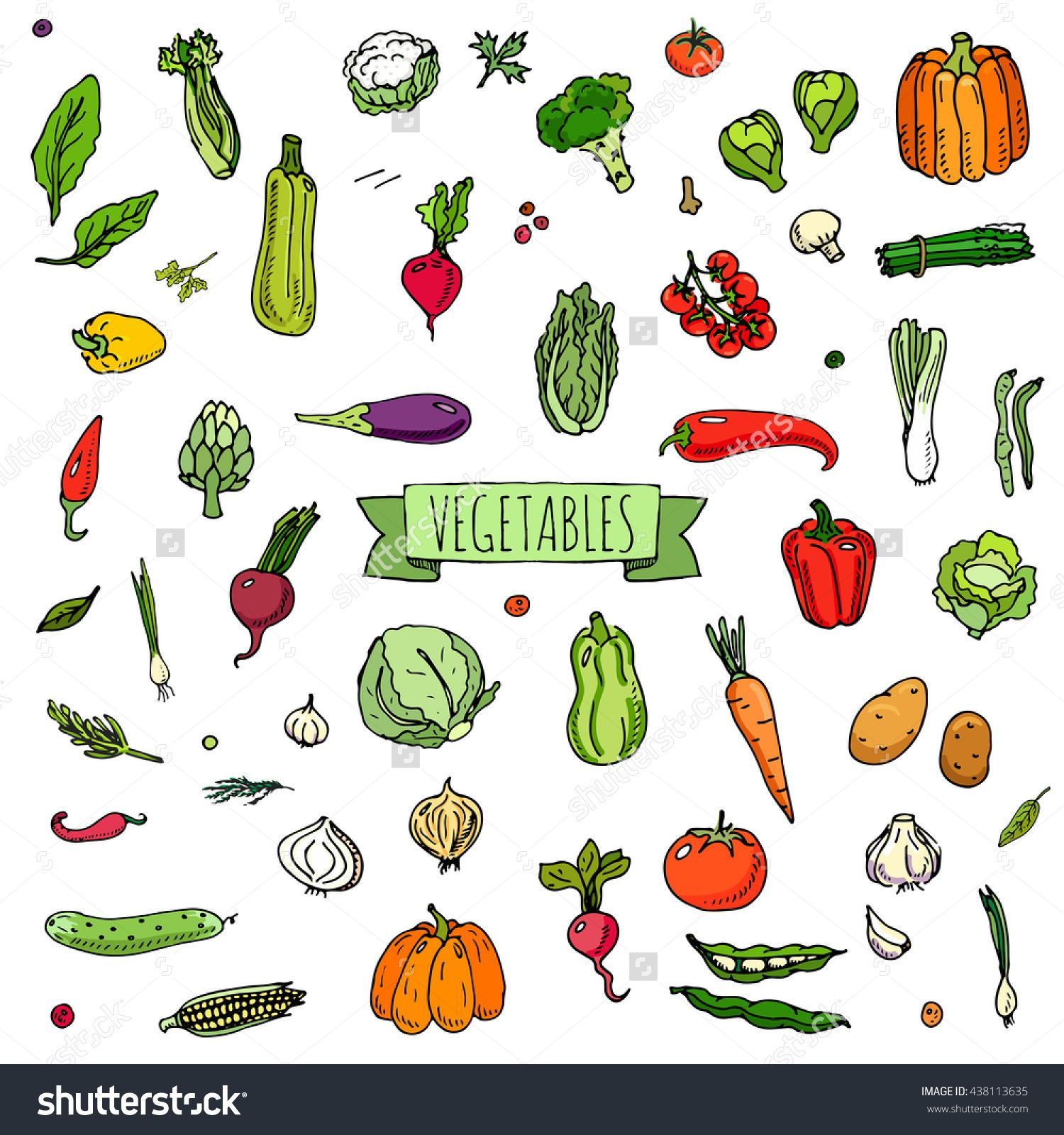 Clipart vegetables seasonal food. Hand drawn doodle icons