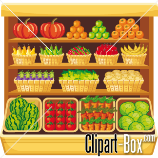 Vegetables clipart shelf. Fruits and vegetable clip