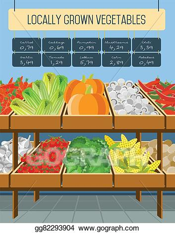 Stock illustration supermarket shelves. Vegetables clipart shelf