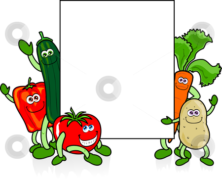 Various and white stock. Vegetables clipart sign