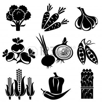 Stock vector logo design. Clipart vegetables silhouette