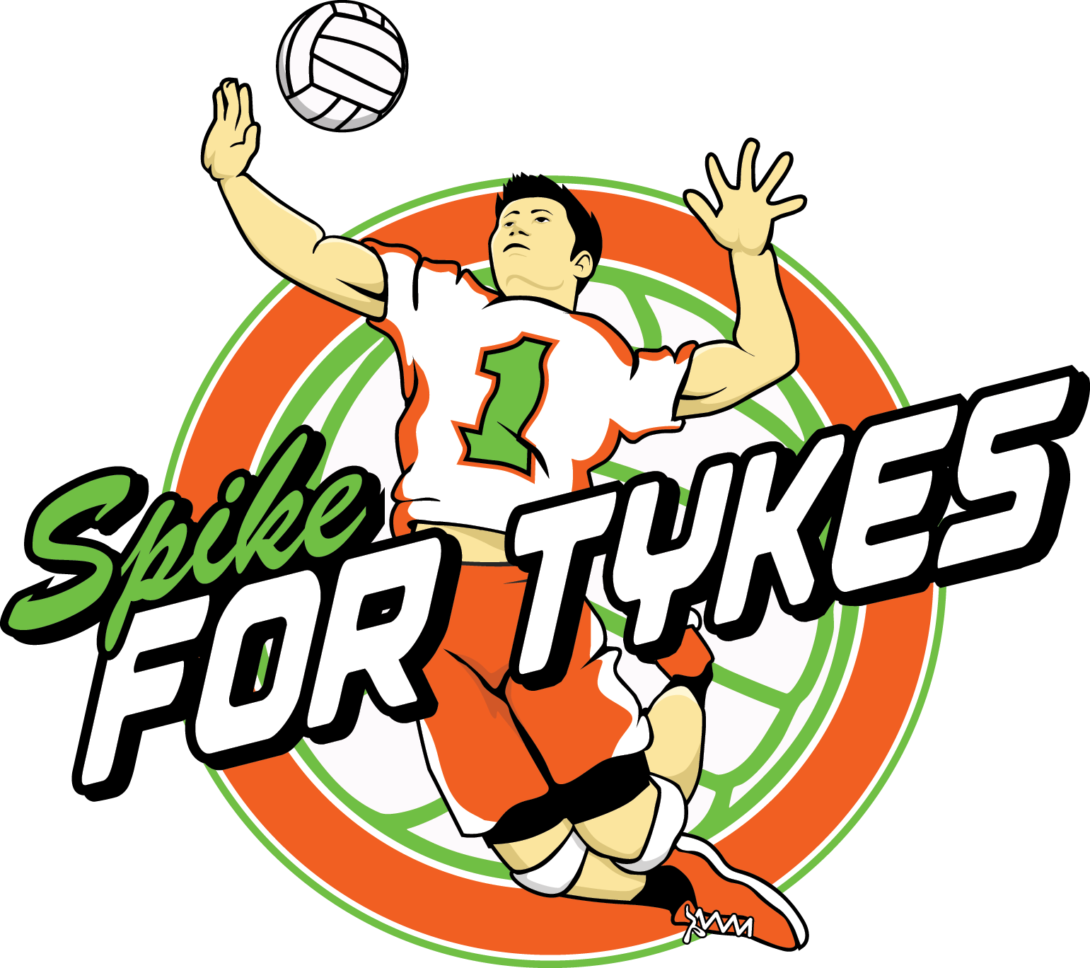 Spike for tykes logo. Clipart volleyball champions