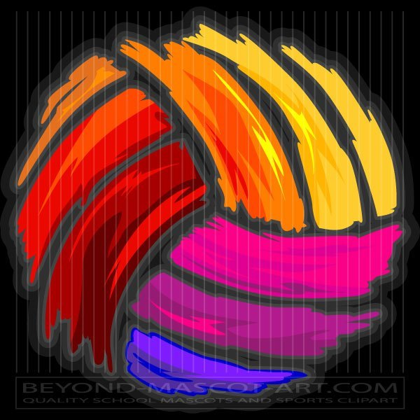Clipart volleyball colorful. Colored clip art