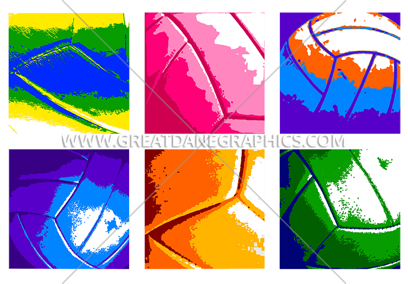 Warhol production ready artwork. Clipart volleyball colorful