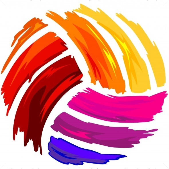 Volleyball clipart shirt. Painted art vector design