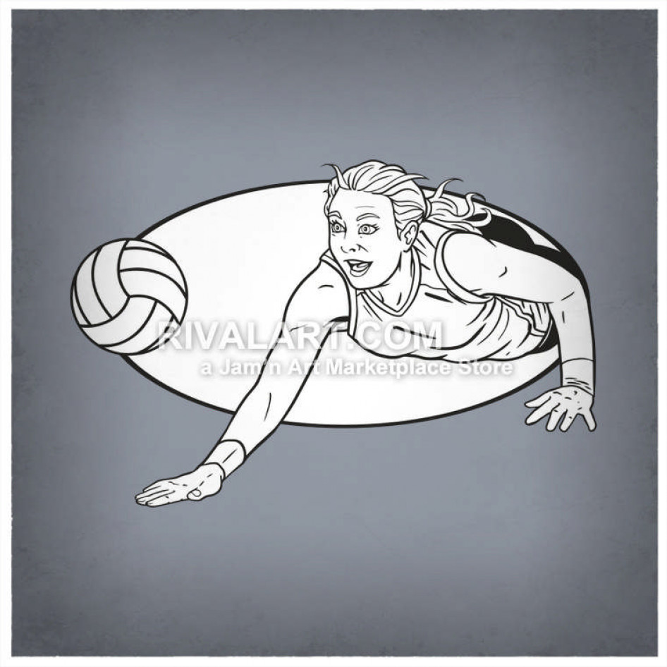 Clipart volleyball diving. Player for the ball