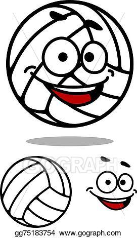 Vector art cartoon cute. Clipart volleyball face