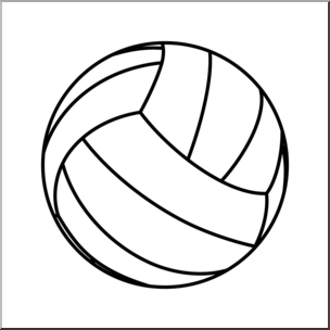 Clip b w i. Volleyball clipart line art