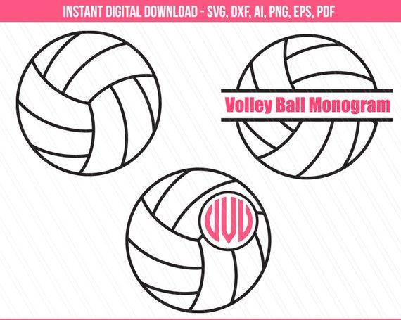 Clipart volleyball monogram. Svg sports