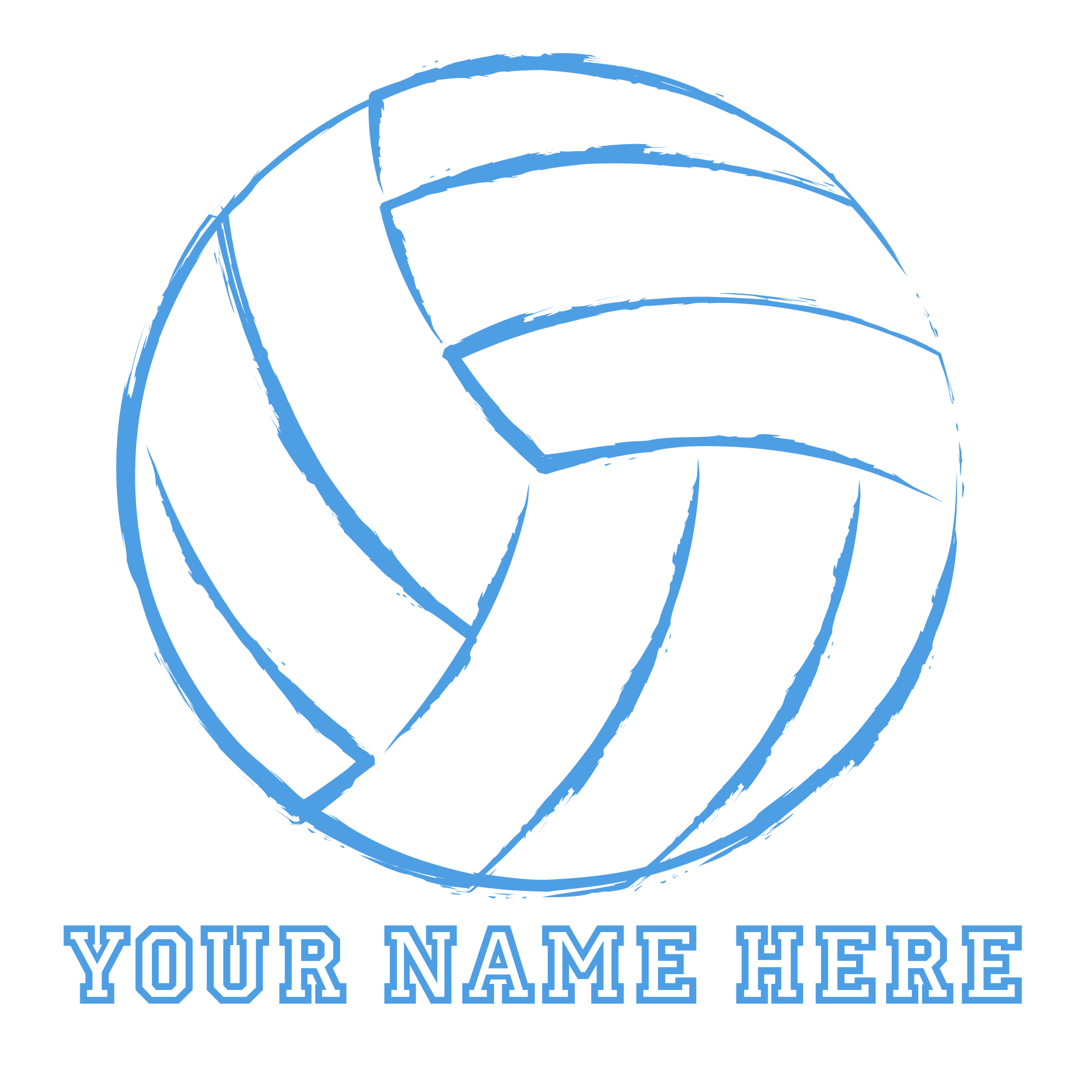 Clipart volleyball monogram. Custom blue pillow case