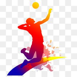 Clipart volleyball move.  people playing ink