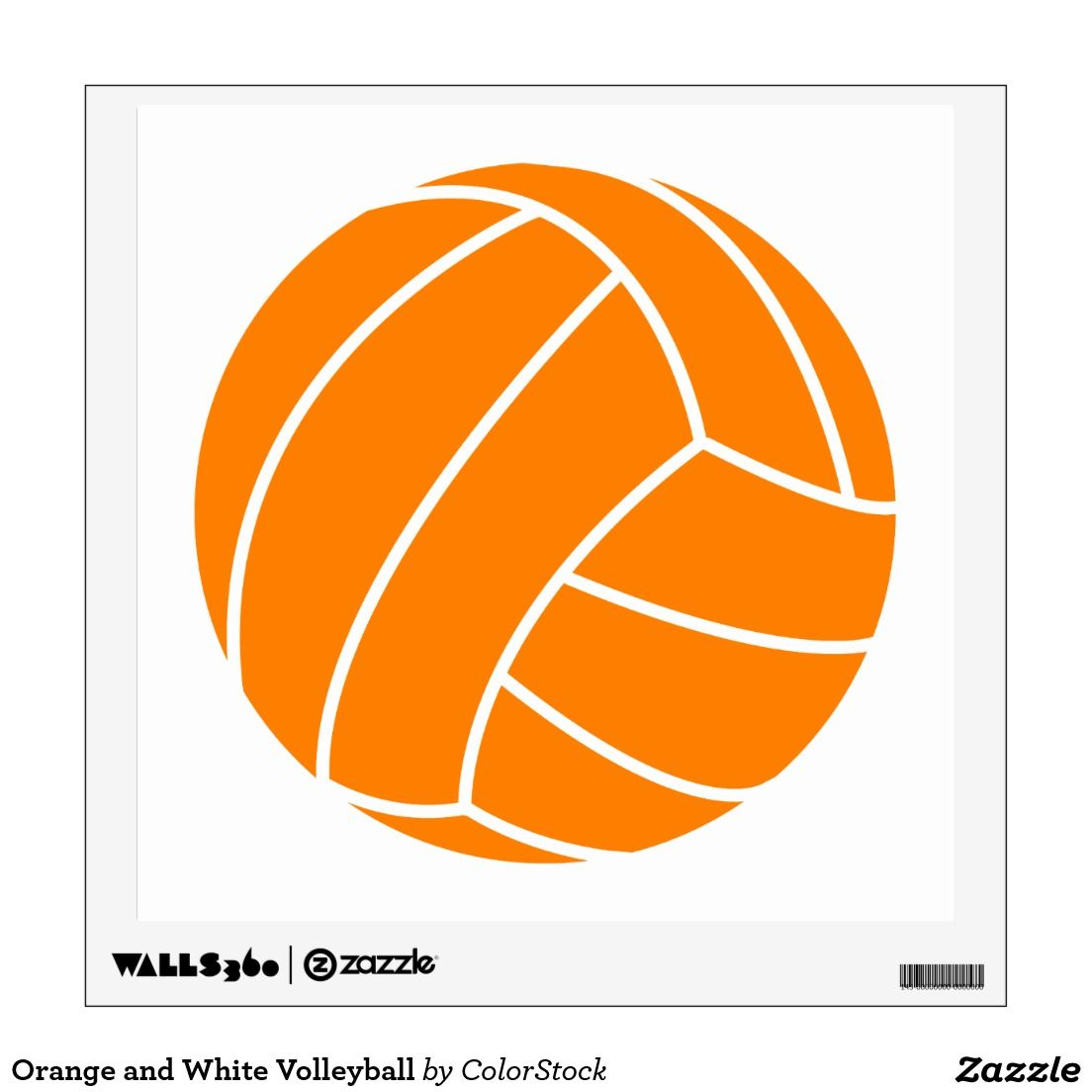 Volleyball clipart orange. And white wall decal