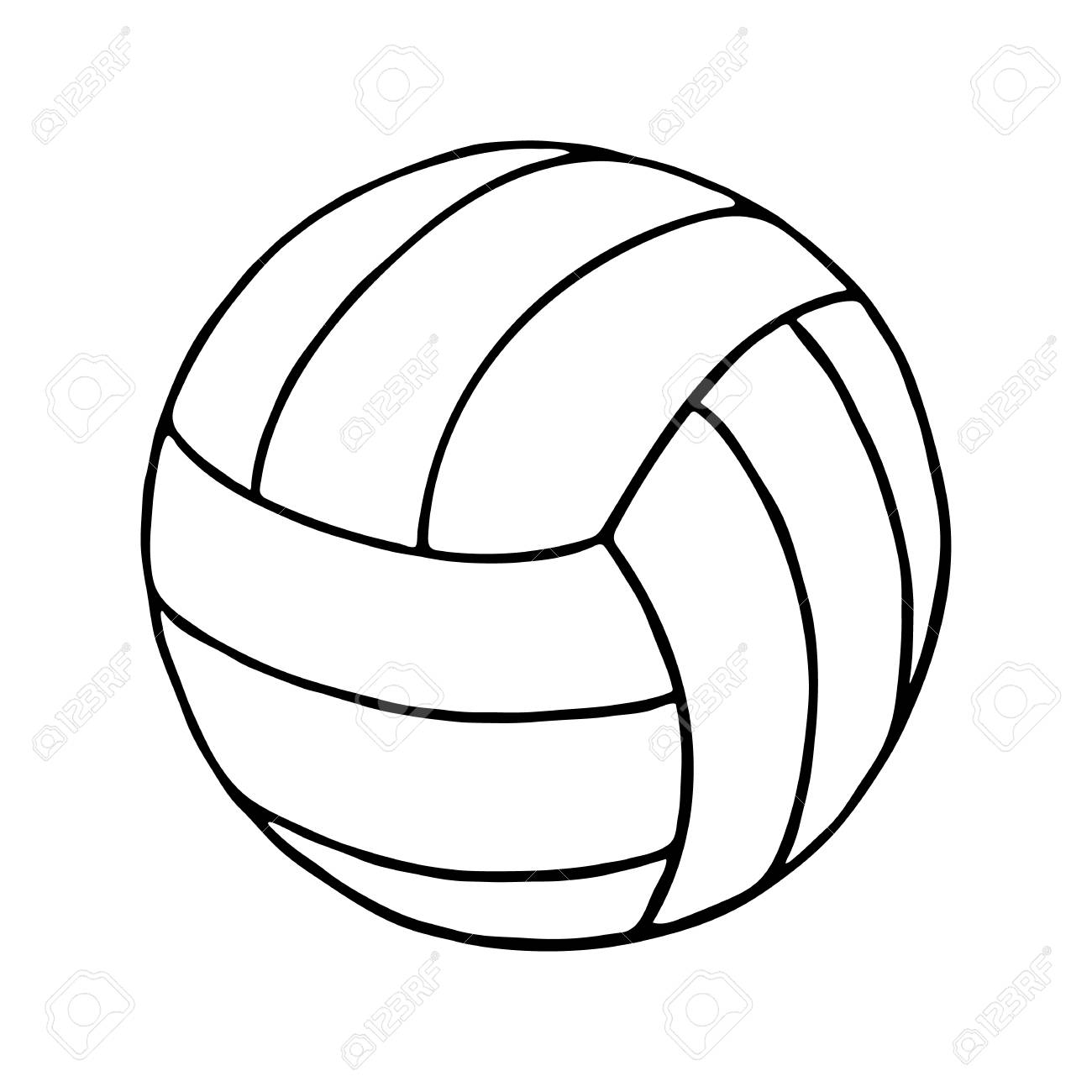 Clipart volleyball outline. Isolated in white background