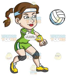 Clipart volleyball person. A female player hits