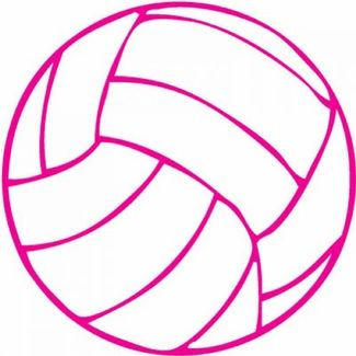 Small round white decal. Volleyball clipart pink