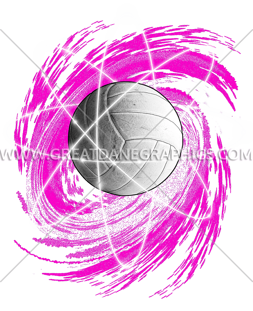 Atomic production ready artwork. Volleyball clipart pink