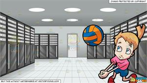 A girl playing and. Clipart volleyball server