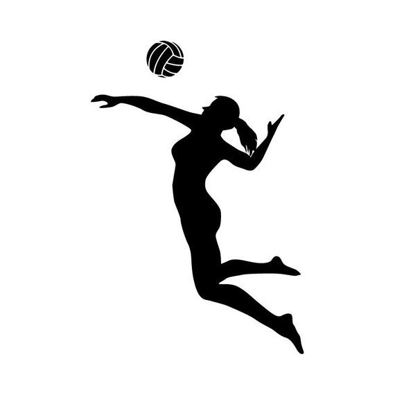 Clipart volleyball silhouette. Player spiking sports wall
