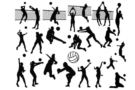 Clipart volleyball silhouette. Silhouettes clip art sports