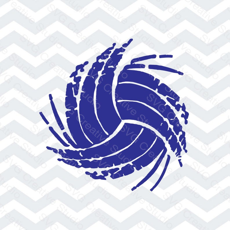 Ball distressed cutting file. Volleyball clipart vintage