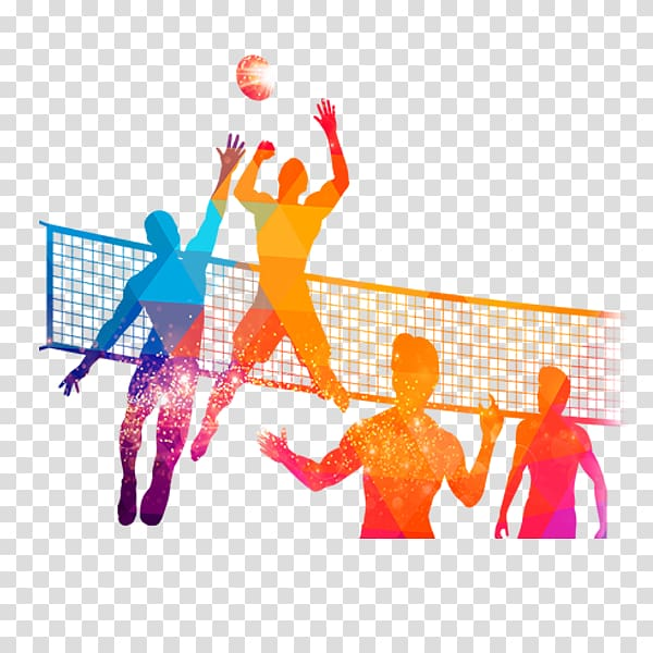 Multicolored game silhouette people. Volleyball clipart volleyball competition