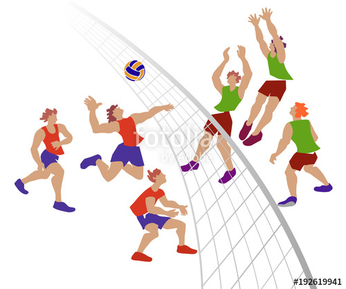 Vector illustration of players. Volleyball clipart wallyball