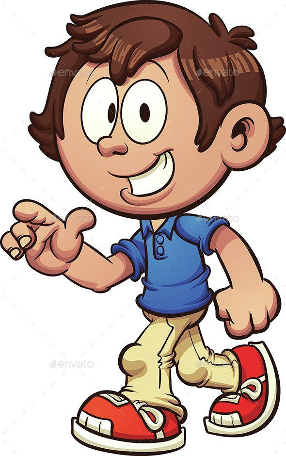 Clipart walking cartoon. Boy illustration art easy