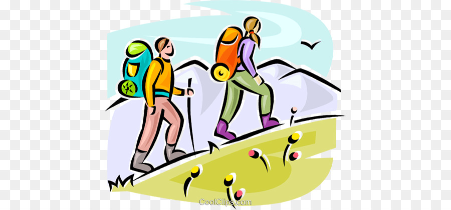 Yellow background hiking illustration. Clipart walking clip art