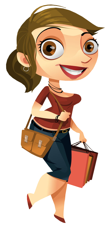 Cartoon pretty woman walking. Luggage clipart animated