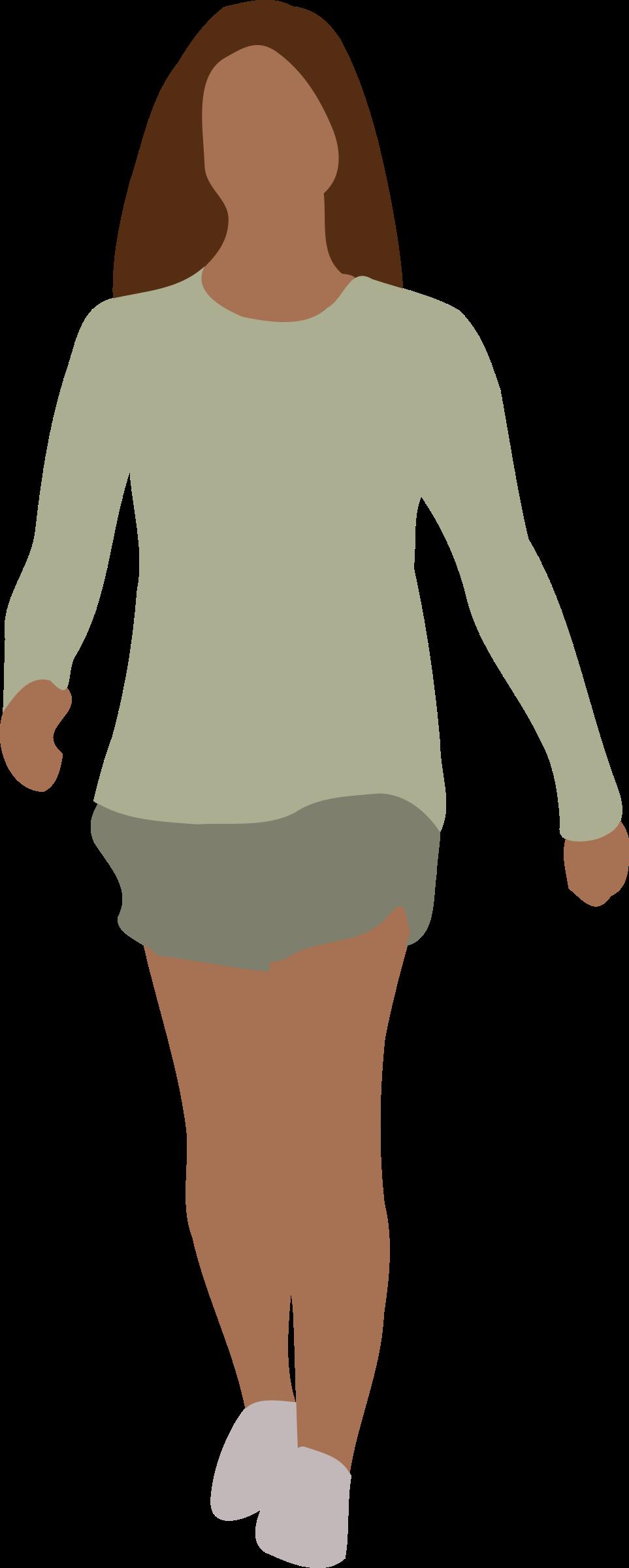 Lady clipart transparent. Faceless woman walking big