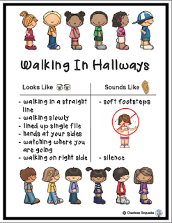 In hallways classroom freebies. Clipart walking lined up