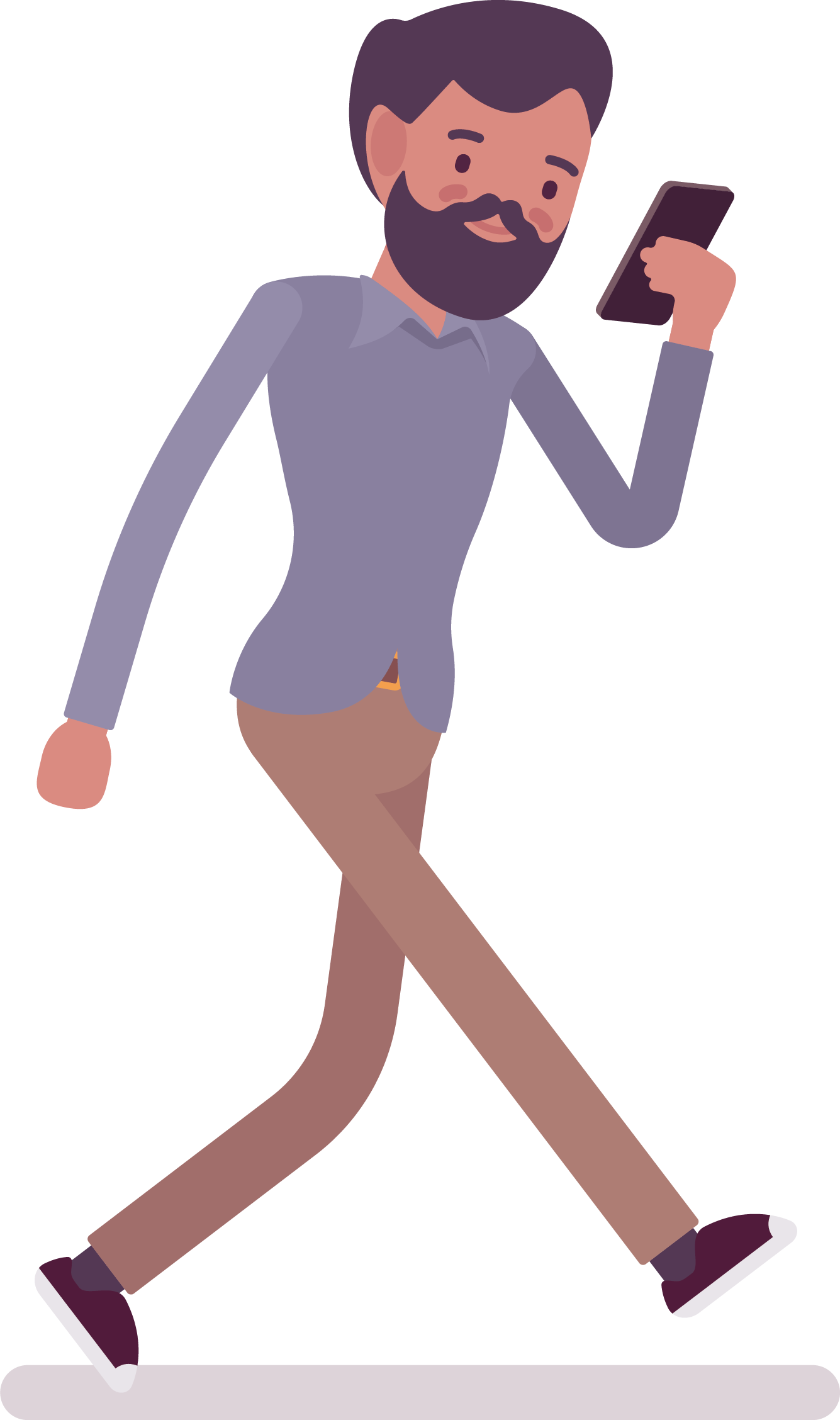 Cartoon looking at cell. Clipart walking man illustration