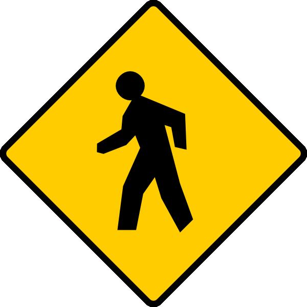 Clipart walking pedestrian. Sign clip art at