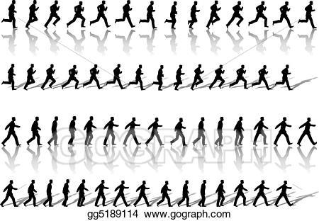 Clipart walking power walk. Vector illustration business man