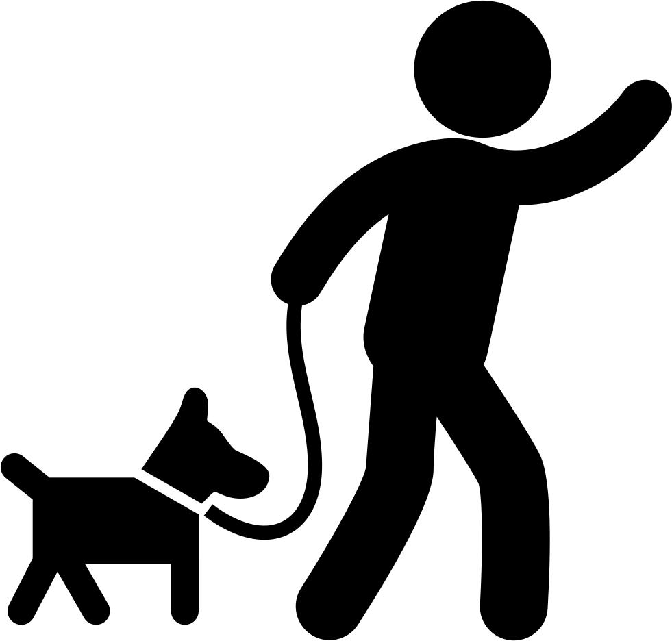 Man carrying a dog. Clipart walking proper walking