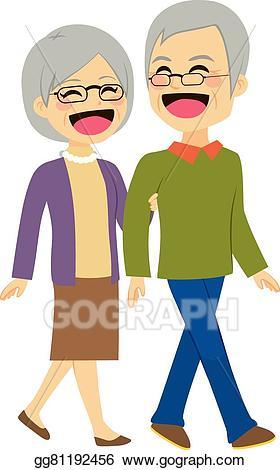 Vector illustration couple eps. Clipart walking senior walking