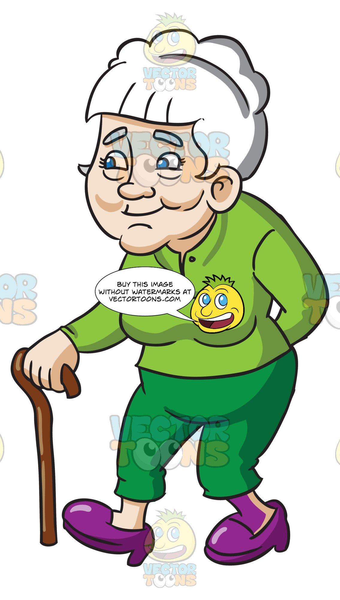 Clipart walking senior walking. A female citizen using