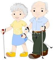 Clipart walking senior walking. Elderly nordic stock vectors