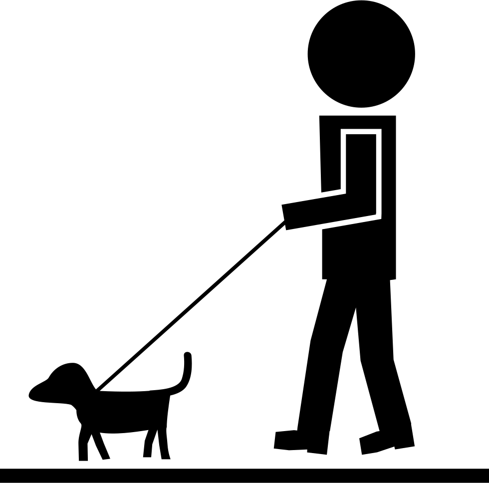 Man with pet dog. Clipart walking single file line