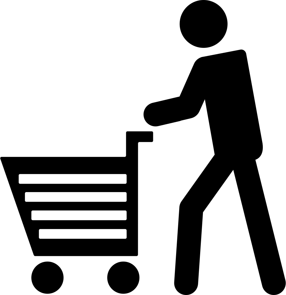Man with shopping cart. Clipart walking single file line