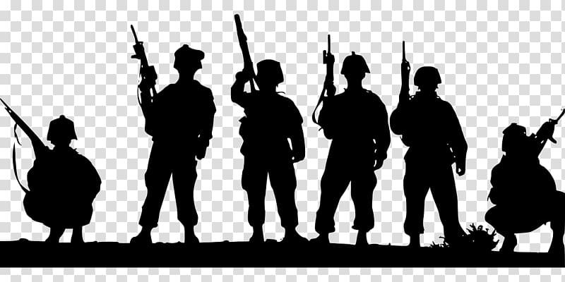 Soldiers clipart group soldier. Silhouette military transparent
